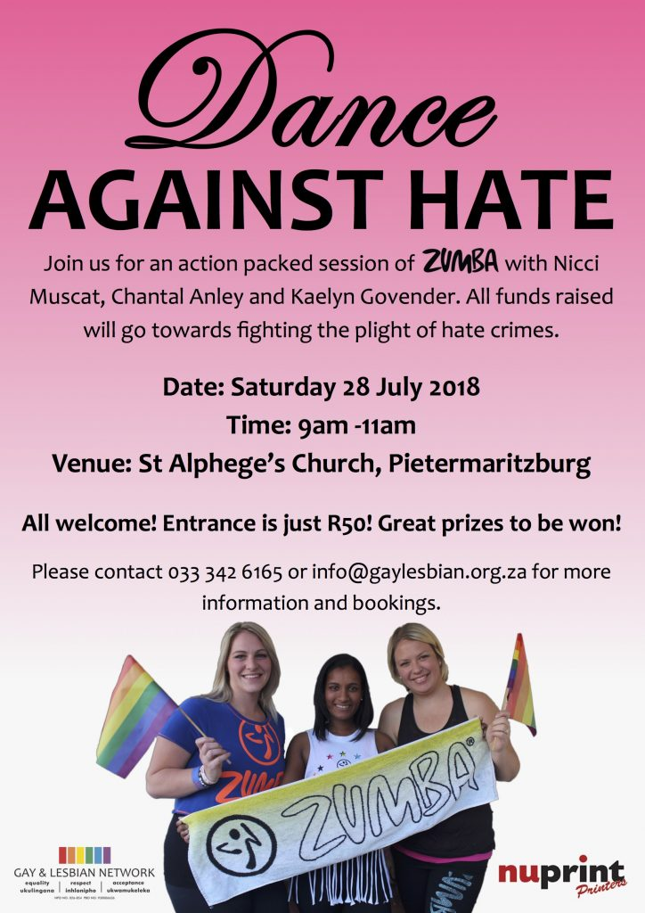 A poster detailing the event for Dance Against Hate